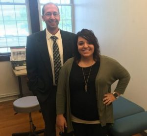 Dr. Jeffrey Baier in the new Caritas Clinic chiropractic room;